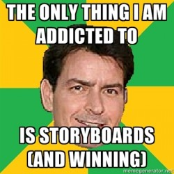 Charlie Sheen loves storyboards too!