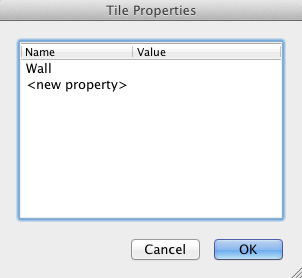 A tile map property defined with Tiled