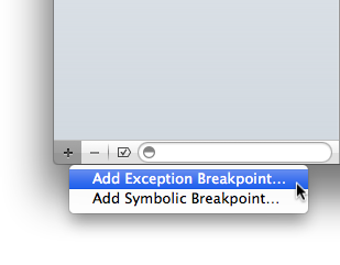 Adding the Exception Breakpoint
