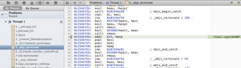 If there is no source code, Xcode shows assembly.