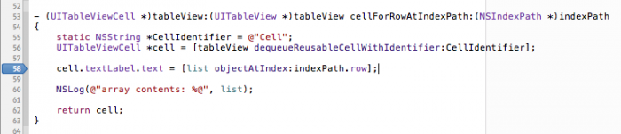 Setting the breakpoint on cellForRowAtIndexPath.