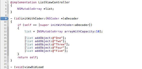 Setting the breakpoint on initWithCoder.