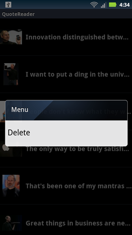 Adding a context menu in Android