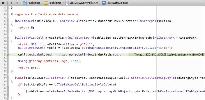 EXC_BAD_ACCESS error on cellForRowAtIndexPath.