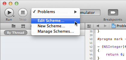 The Edit Scheme menu option.