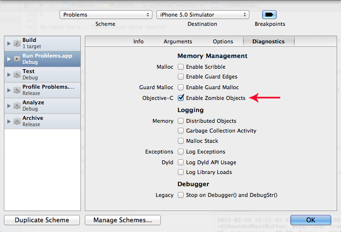Enabling the Zombie Objects diagnostic option.