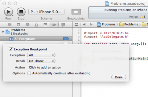 After the Exception Breakpoint has been added