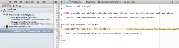 Xcode warns about a format string issue.