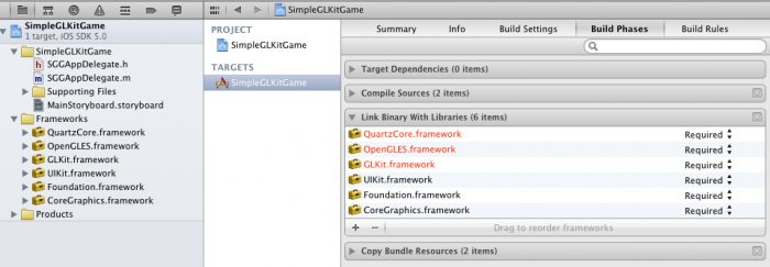 Setting required frameworks for OpenGL and GLKit