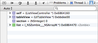 The GDB debugger points out which object is the zombie.
