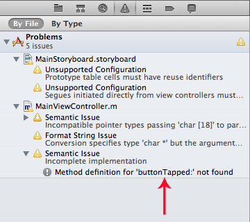 Xcode shows an incomplete implementation warning.