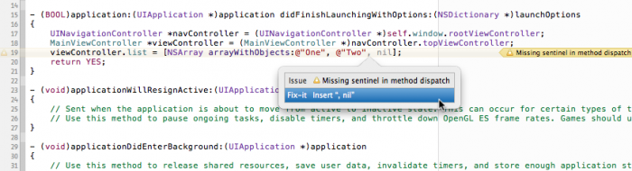 Xcode warns about a missing sentinel.