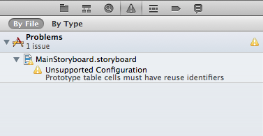 Xcode warns about a missing prototype cell identifier.