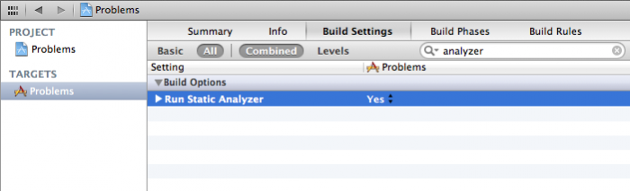 Setting the static analyzer to run on each build.