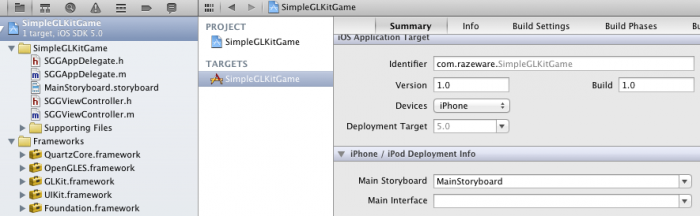 Setting the main storyboard in Xcode
