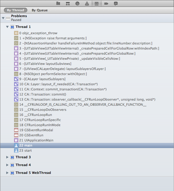 The call stack for the assertion failure on the table view.