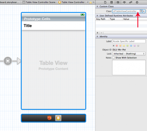 Setting the class for the table view controller.