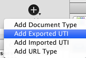 Adding an Exported UTI