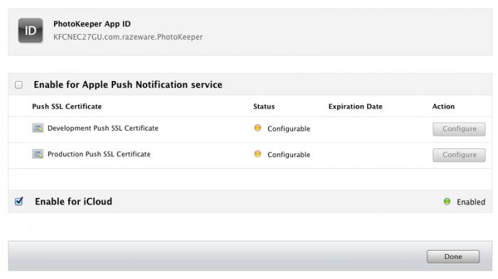 Enabling an App ID for iCloud