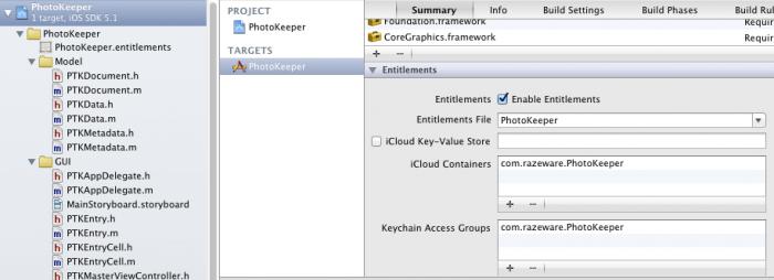 Enabling iCloud Entitlements