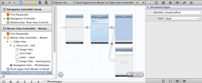 Adding a new segue to display the conflicts view controller