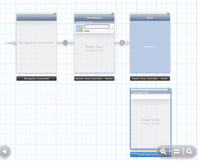 Adding a new table view controller to the Storyboard editor