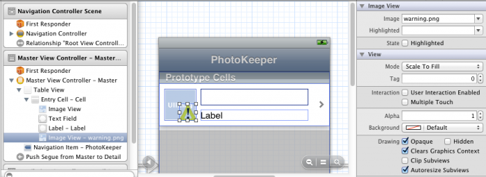 Adding warning image to table view cell