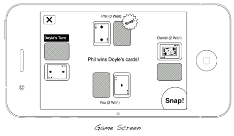 Mockup of the game screen