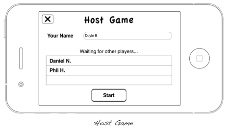 Mockup of the Host Game screen