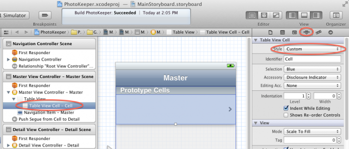 Setting cell type to custom
