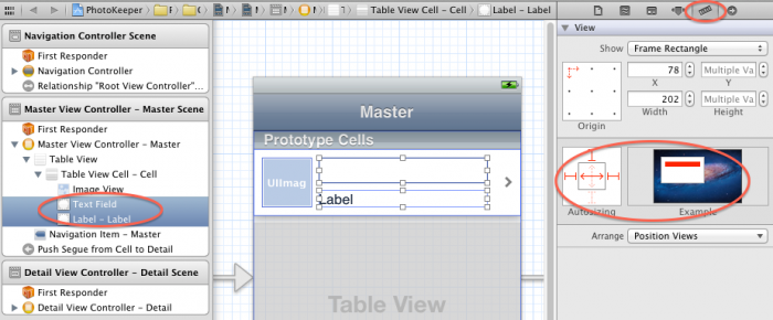 Setting autosizing attributes