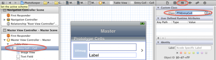Setting the cell class in the Identity Inspector