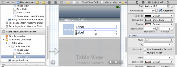 Setting the tag on a view in the Storyboard editor