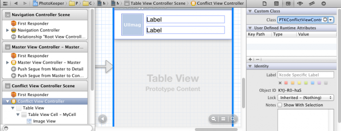 Setting the view controller class in the Identity inspector