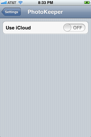 iCloud On/Off Switch in Settings