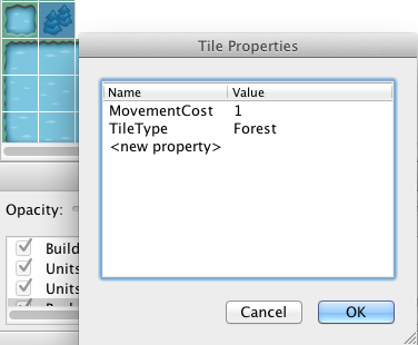Tile Properties for Movement Cost