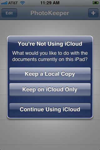 Prompt when iCloud switched off