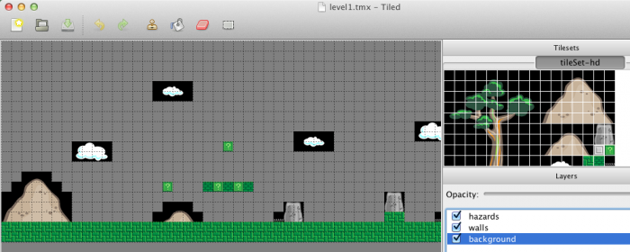 A platformer game level made with Tiled