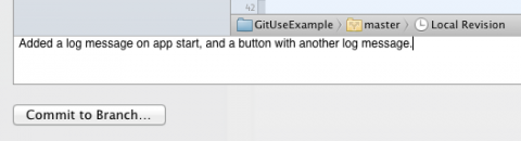 Adding a commit message for git in Xcode