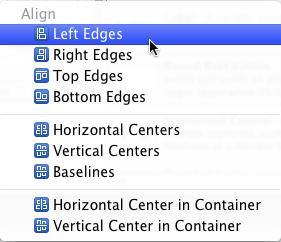 Align menu