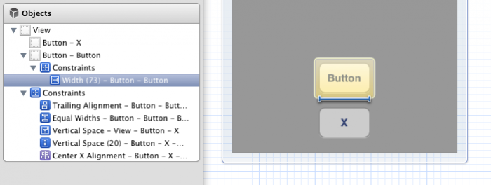 Button fixed width constraint