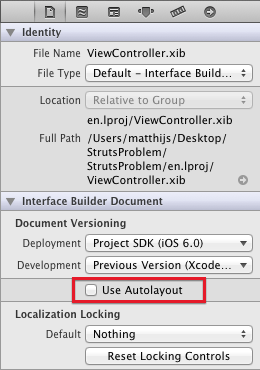 Disable autolayout