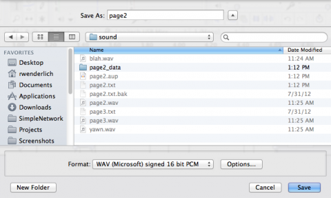 Exporting a file as a WAV from Audacity