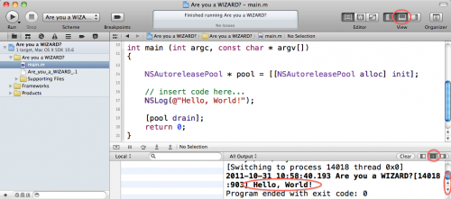 Hello World output in Xcode console