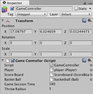 Connecting objects to game controller in Unity's inspector