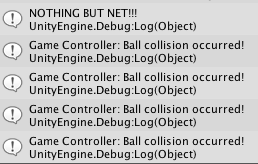 Unity console messages