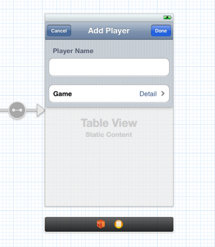 The final design of the Add Player screen