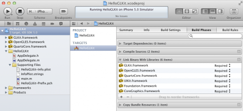Adding frameworks for GLKit to your Xcode project
