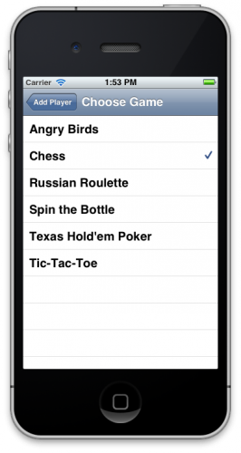 Choose Game screen with checkmark