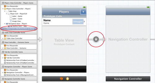 A new segue in the storyboard editor
